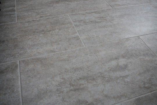Bathroom floor tile complete Groutable vinyl tile TrafficMASTER Ceramica in Cement Home Depot