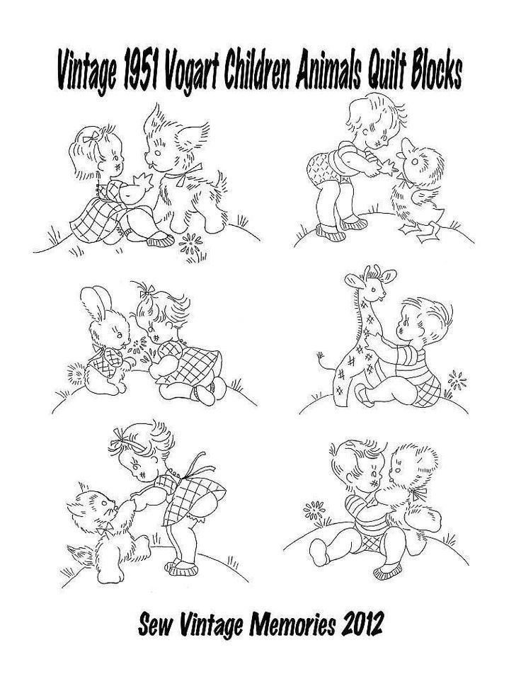 1951 Vogart Baby Children Animals 6 Designs Hand