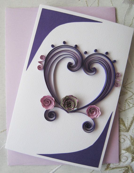 Valentine Card Quilled Handmade Greeting Card Birthday