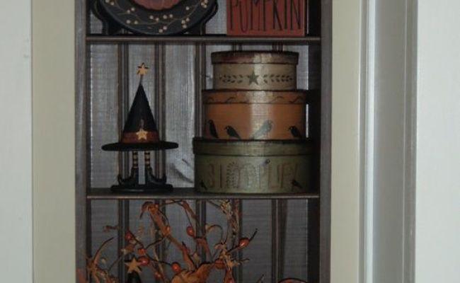 Prim Shelf With Primitive Decor Very Cute For Halloween