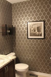 Stenciled powder room wall. KM Decor: Home Tour I want ...