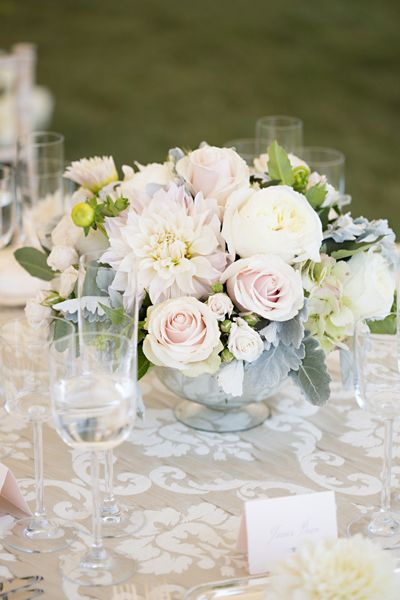 Pale Pink Gray Centerpieces Patricia Lyons Wedding