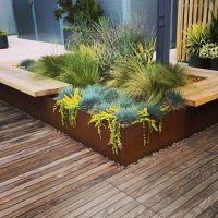 Rooftop garden- Corten planter with bench. Urban garden ...
