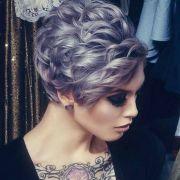 lavender pixie short curly bob