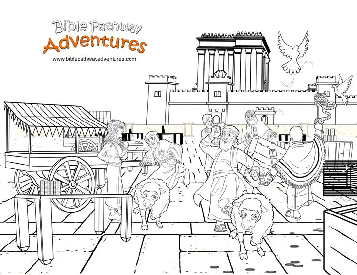 Yeshua clears the Temple! A coloring page for kids from