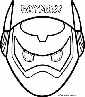 Printable big hero 6 baymax armor mask coloring pages cut