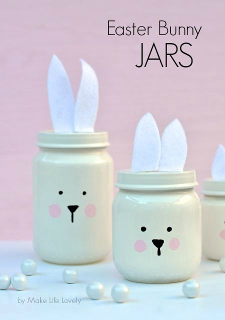 Painted Easter Bunny Jars {