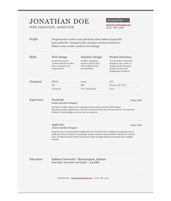 Example Of One Page Resume Career Summary One Page Template 12