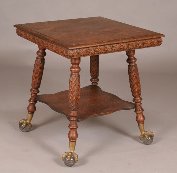 Victorian Carved Oak Lamp Table Claw/Ball Feet, Grandma