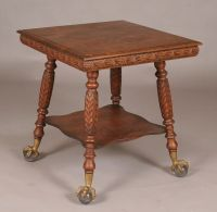 Victorian Carved Oak Lamp Table Claw/Ball Feet, Grandma