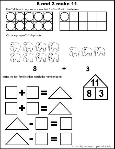 Free math worksheets for kids. The number 11, addition
