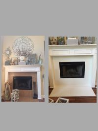 Painted tile around fireplace with DIY chalk paint and ...