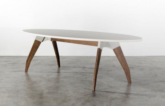 Tafel Oormerk typ Lino  linoleum werkblad met houten