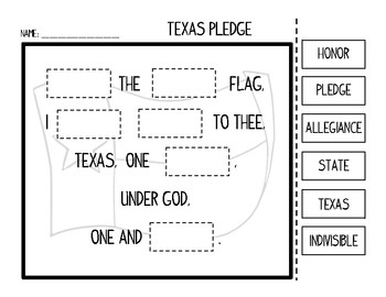 United States and Texas Pledge of Allegiance Cut and Paste