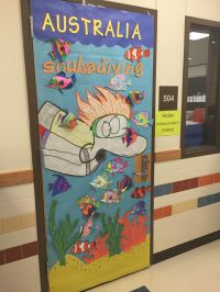 A colorful, creative door decoration highlighting ...