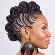 rolled cornrow mohawk braids