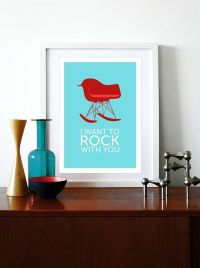 Eames poster print chair Mid century modern Herman Miller ...