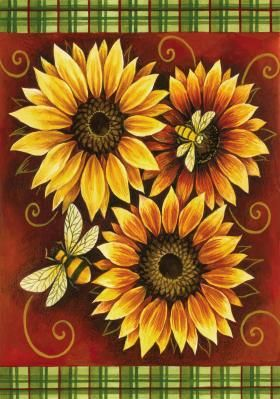 bees sunflowers pintura