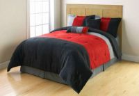 Twin Red Grey Black Microsuede Stripe Comforter Bedding ...