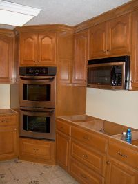 Corner oven (leave microwave where it is) put drop-in ...