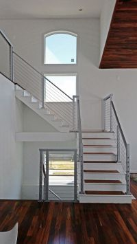 Cable stair railing - Square stainless steel posts and ...