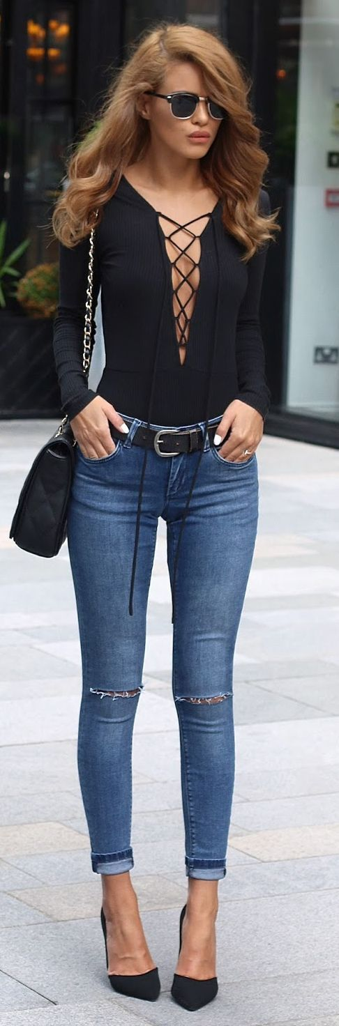 Black Lace Up Bodysuit Skinny Jeans Black Pumps by Nada Adellè: