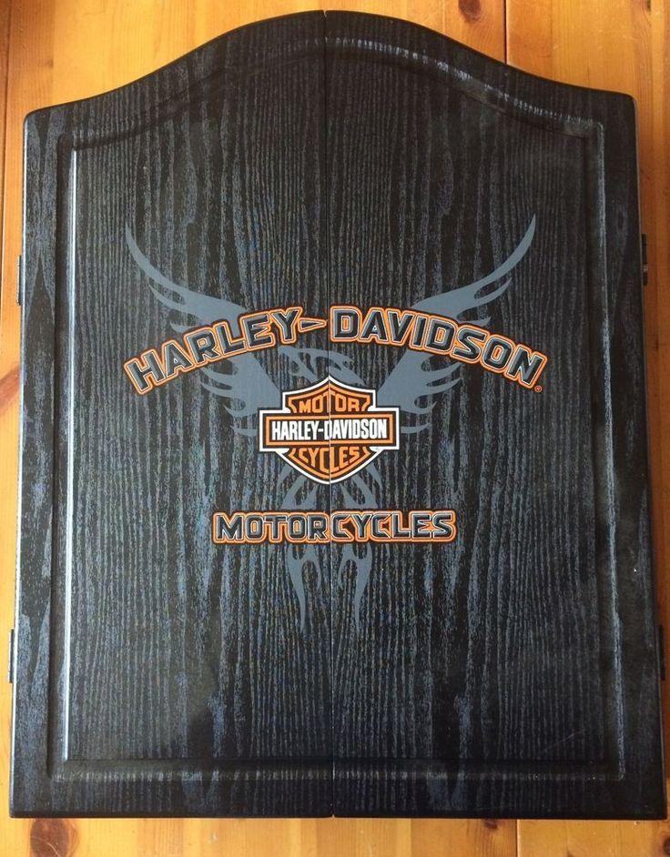 Harley Davidson Dart Board Cabinet  Set New Never Used