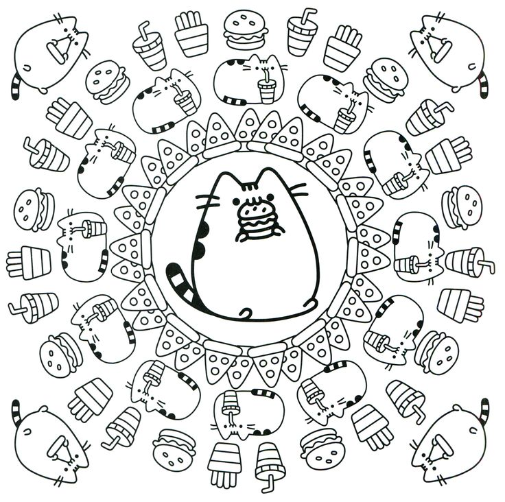 Pusheen Coloring Book Pages Sketch Coloring Page