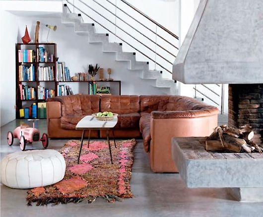 Stunning industrial boho living space Textured atlas rug