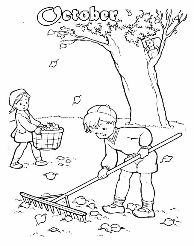 A Boy And Girl Cleaning Up Fall Leaves Coloring Page