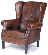 Traditional Wing Back Leather Chair w Nailhead Trim, Wood ...