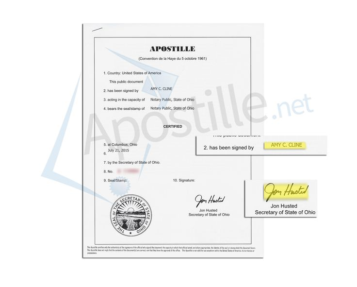 State Of Ohio Apostille Issued By Jon Husted Secretary Of State Of Document Sifned By Amy C