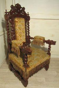 Stunning Victorian Gothic Carved Oak Throne Chair   Throne ...