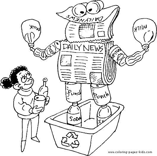 Recycle news papers Earth Day color page, holiday coloring