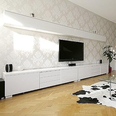 Ikea Besta Burs Wall Shelf High Gloss White One Unit