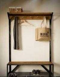 Oak and Steel Coat Rack Bench   Kitchen Remodel ...