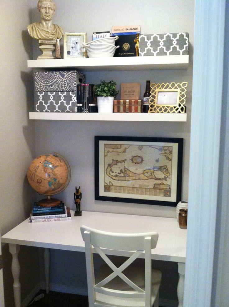 Closet office Paint Glidden Smooth Stone ShelvesDesk