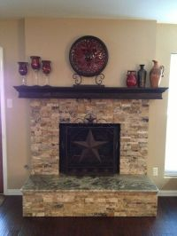 Stacked stone fireplace with granite hearth. | Home Design ...