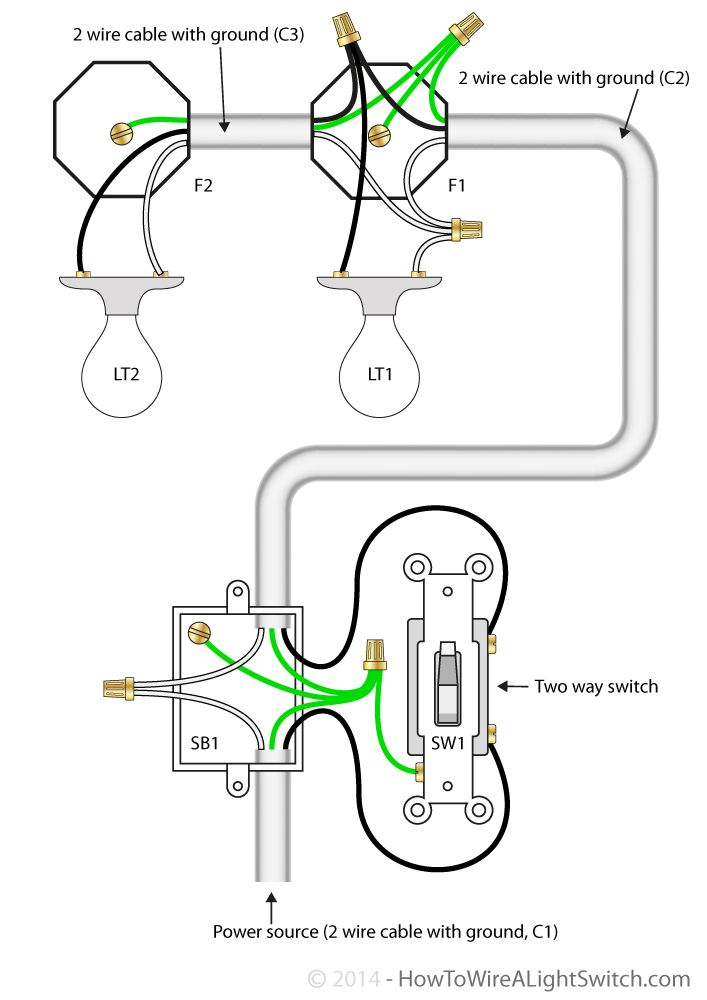 2 way switch with power feed via switch (multiple lights