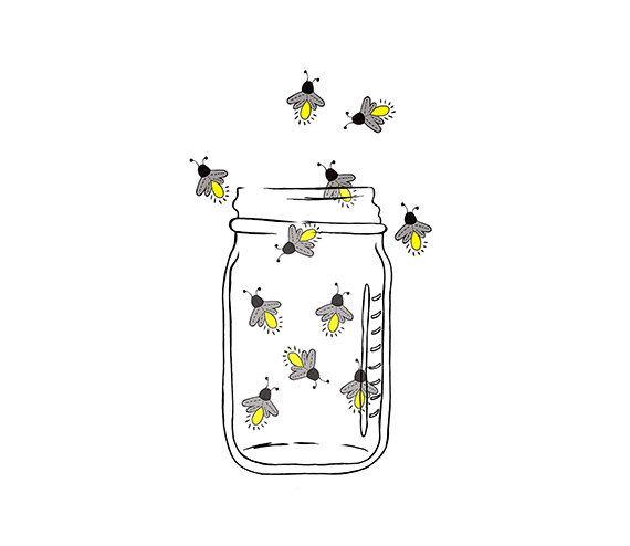 Mason Jar Image Fireflies Lightning bugs Digital by