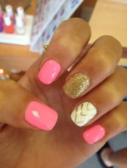 pink and gold acrylic nails