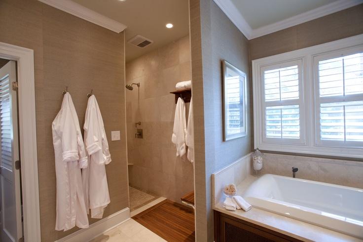 British Colonial style bathroom ADA shower grasscloth