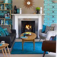 Mid Century Modern Shades of Blue Living Room Decoration ...