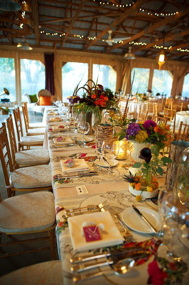 Beautiful Blooms Eclectic Communal Table Decor at Audubon