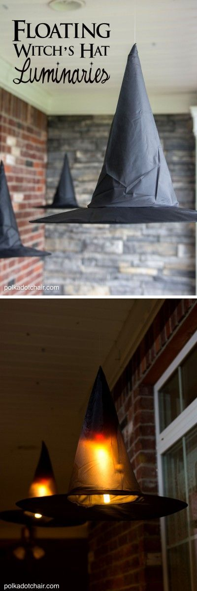 Clever decorating idea for a porch for Halloween, floating Witch's hat luminaries, they even light up at night!: