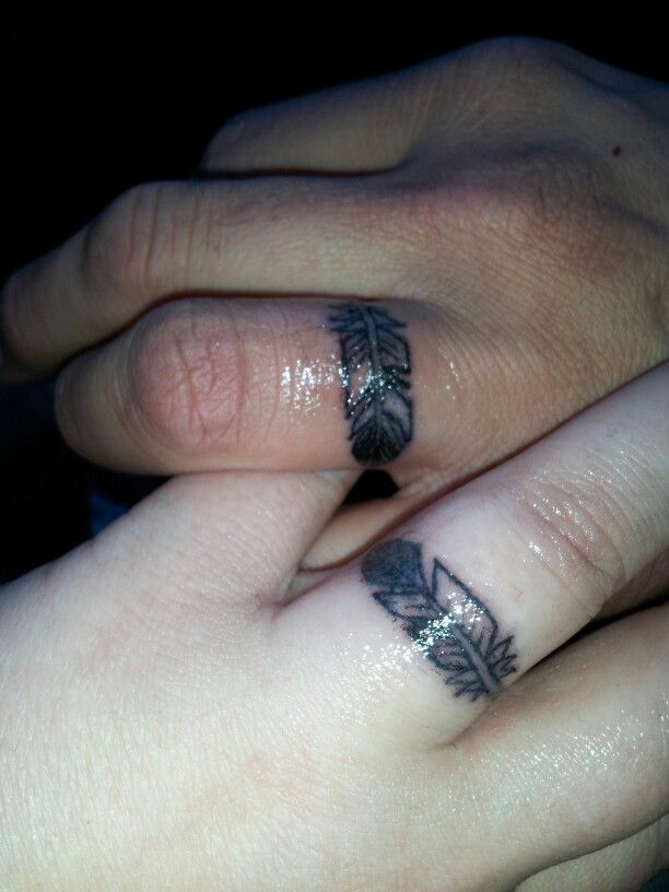 His And Hers Wedding Ring Eagle Feather Tattoos Hubby And