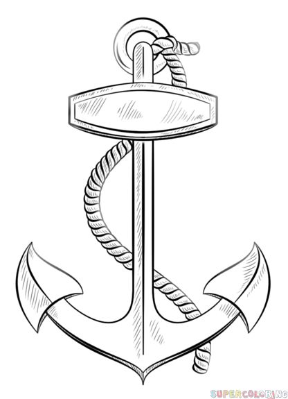 How to draw an anchor with rope step by step. Drawing