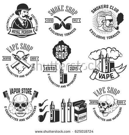 Set of vape shop emblem templates. Smoke shop. Design