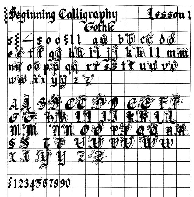 complete upper and lower case Gothic alphabet with numbers