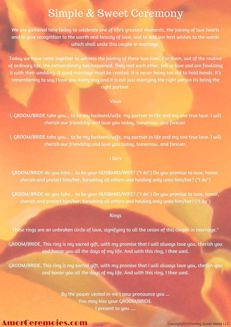 Simple Wedding Ceremony Script httpamorceremoniescom  Unionification Ceremony Scripts